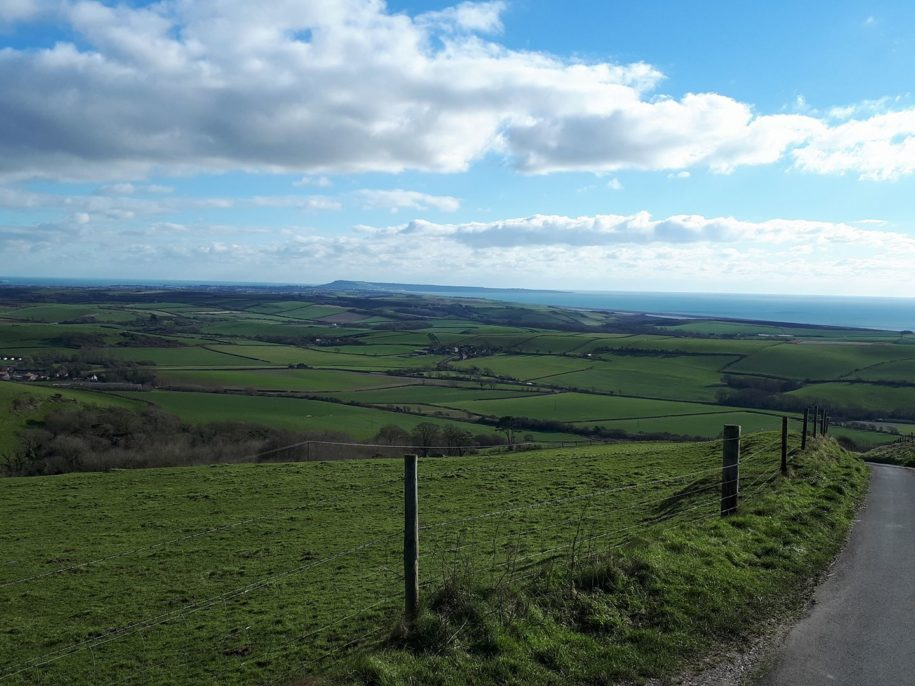 Chesil Beach and countryside views